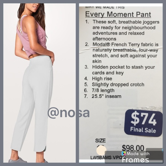 d286ce6c9  4.99 shipping⚡️Lululemon Every Moment Pant 6 VPOR